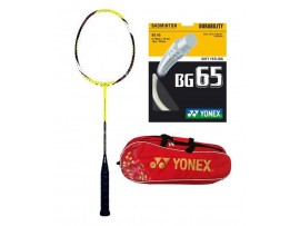 YONEX ARCSABER Z SLASH BADMINTON RACKET WITH KIT BAG AND BG 65