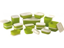 MasterCook - 200 ml, 330 ml, 1630 ml, 150 ml, 500 ml, 700 ml Plastic Food Storage(Pack of 17, Green)