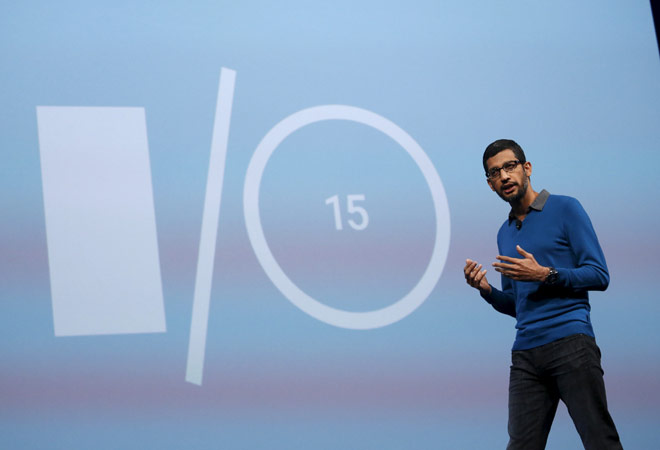 Google Senior VP, Sundar Pichai delivers his keynote address during the Google I/O developers conference in San Francisco, on May 28, 2015 [Photo : Reuters]