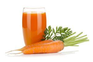 Fresh carrot juice. Isolated on white background
